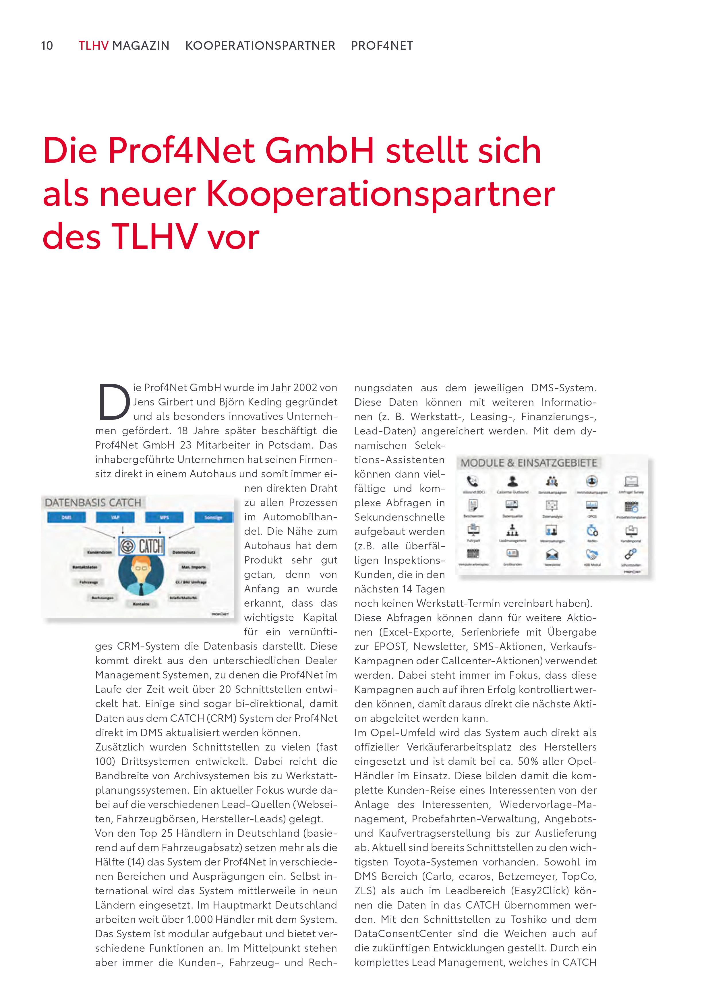 Artikel TLHV Magazin Prof4Net Seite 1